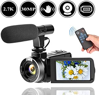 HD Camcorder Video Camera for YouTube 2.7K 30MP Digital Camera Vlogging Camera with Microphone and Remoter Camera with Flip Screen and Webcam Function