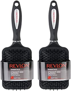 Revlon Straight & Smooth Soft Touch Black Paddle Hair 2 Brush Set
