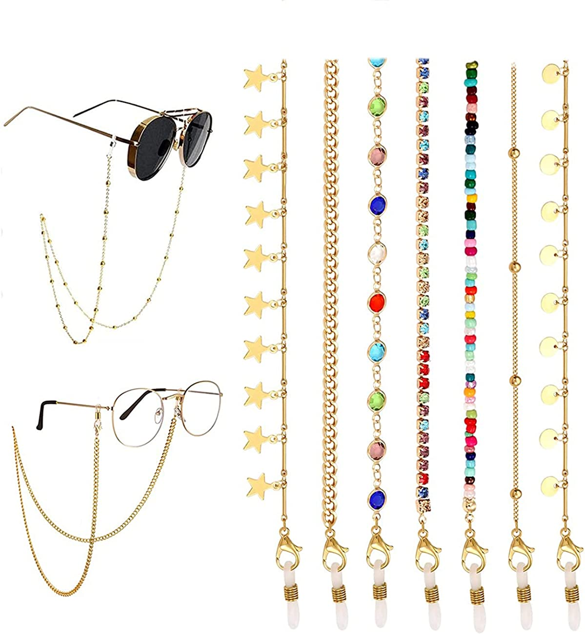 Mask Glasses Chain Lanyard for Women Kids Gold Beaded Sunglasses Necklace Eyeglass Chain Set Anti-Lost Around Neck for Girls