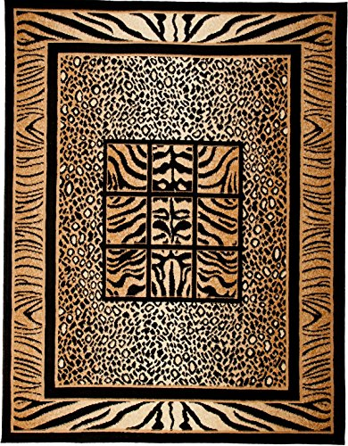 Carpeto Tierfell Teppich Beige 70 x 130 cm Afrika Muster Kurzflor Verona Kollektion