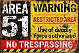 Kama Vintage Retro Reproduction Area 51 Do Not Enter Warning Metal Tin Sign TIN Sign 7.8X11.8 INCH