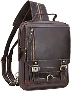 TIDING Men's Leather Convertible Handmade Backpack Sling Bag for Travel Rucksack with Card Holder Small Satchel Casual Day...