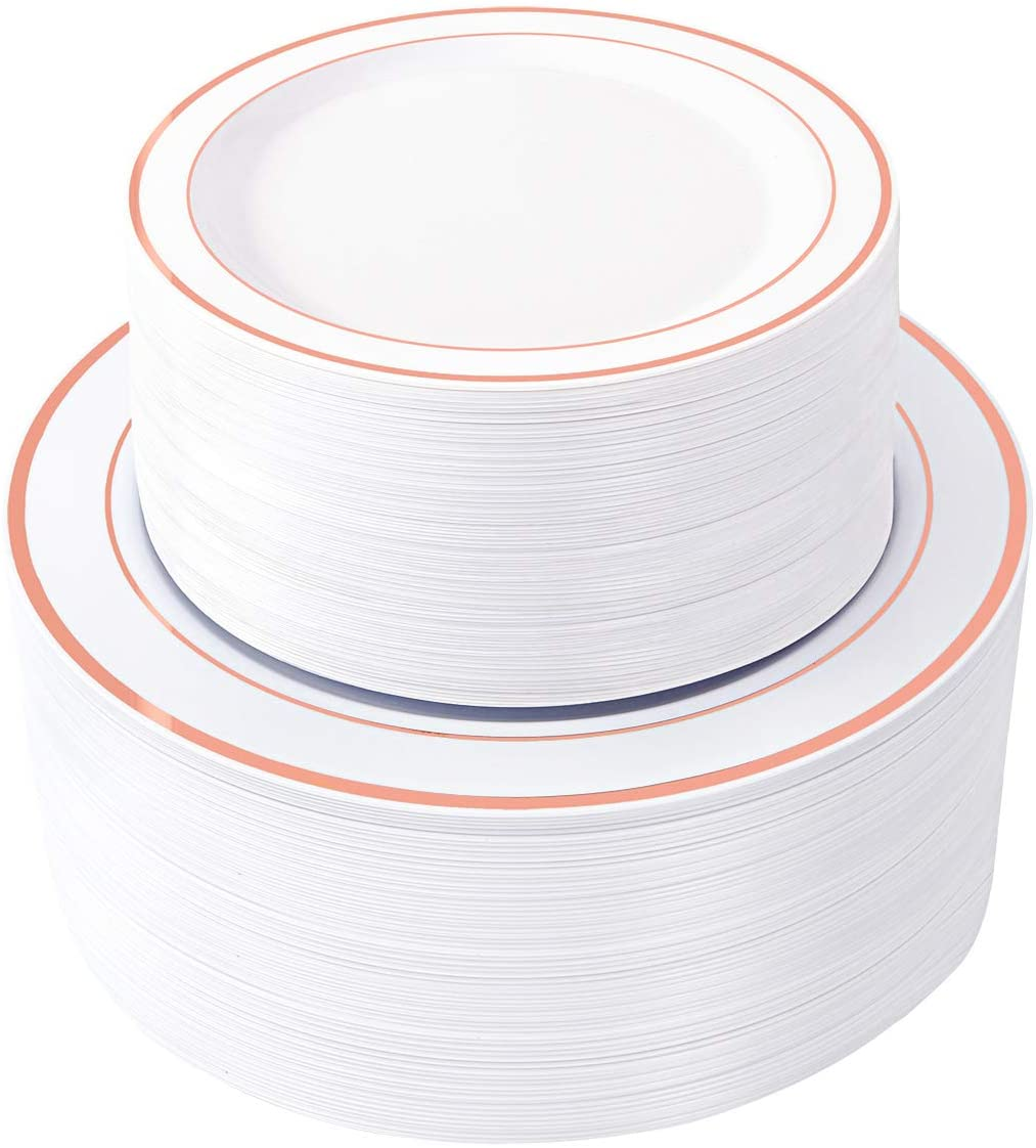 WDF Long-awaited 120 pieces Rose Gold Plastic rim Disposable Plates-Rose Excellence