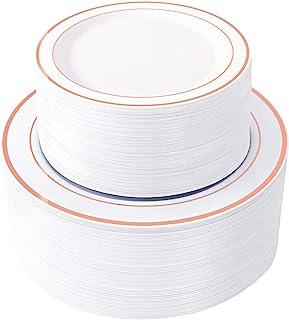 "WDF 120 pieces Rose Gold Disposable Plastic Plates-Rose Gold rim Wedding Party Plates ,Premium Heavy Duty 60-10.25"" Dinner..."