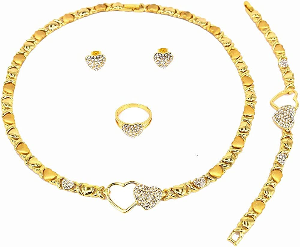 Generic Women's Girls XOXO Hugs & Kisses Necklace Set - Ring Bracelet & Earrings Jewelry Set Real Gold Plated