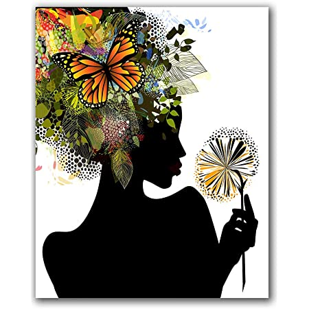 Framed Print Picture Art Abstract Black and White Flowers with Butterflies