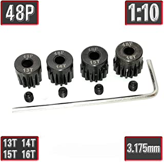 48P Pinion Gear Set Hardened 13T 14T 15T 16T 3.175mm RC Motor, 4 Pcs 48 Pitch Gears RC Upgrade Part with Screwdriver