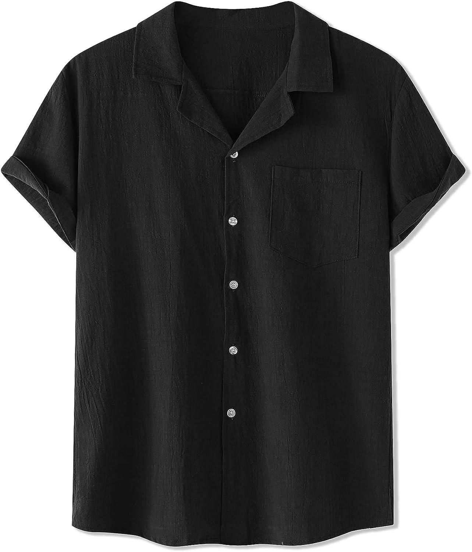 Lars Amadeus Men's Linen Shirt Summer Casual Camp Collar Short Sleeve Button Down Beach Shirts