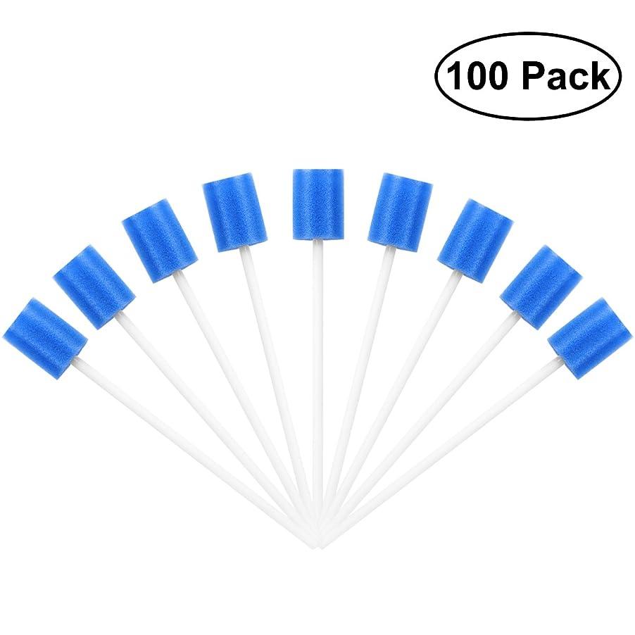ジョイント徹底欺ROSENICE Mouth Sponges Dental Swabs 100Pcs Disposable Oral Care Swabs (Blue)