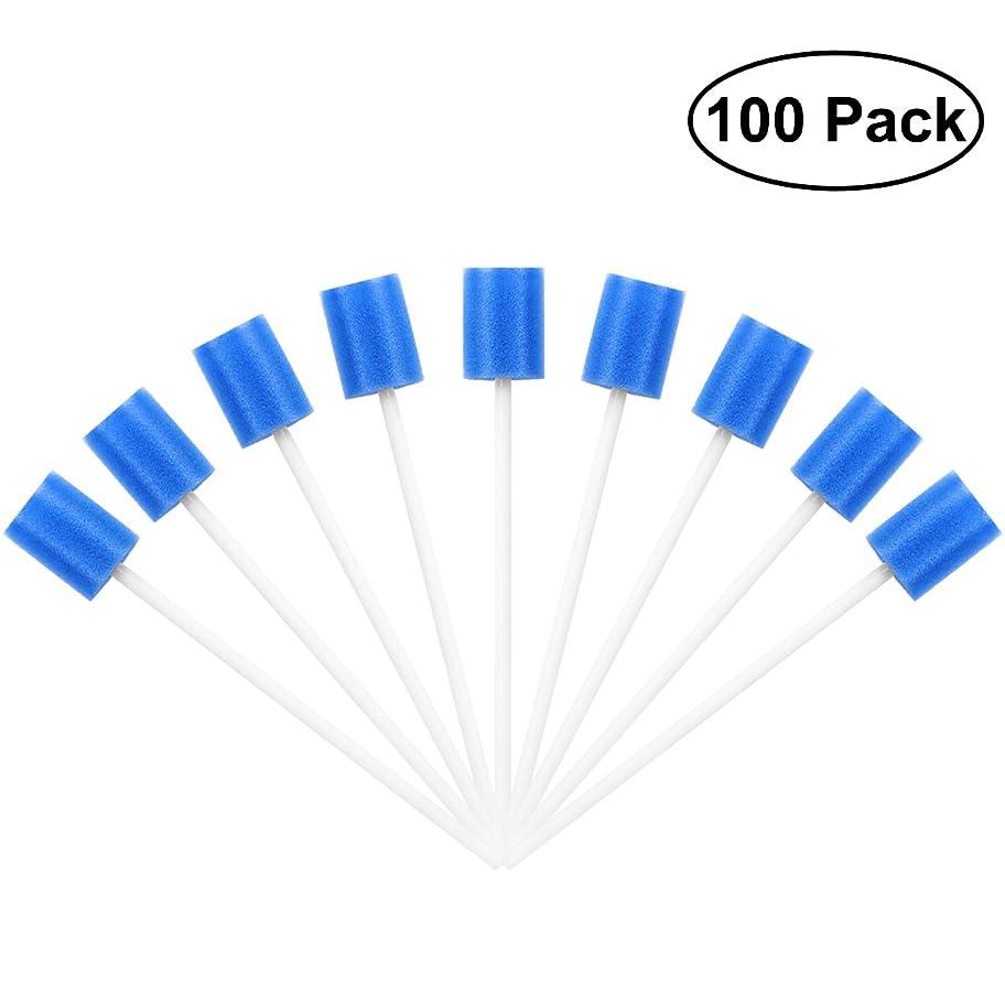 海里クラッシュ出席するROSENICE Mouth Sponges Dental Swabs 100Pcs Disposable Oral Care Swabs (Blue)