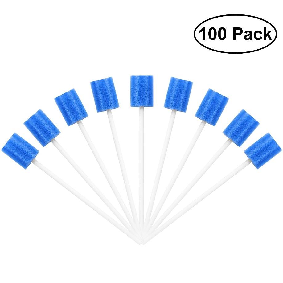 ペイント苗提出するROSENICE Mouth Sponges Dental Swabs 100Pcs Disposable Oral Care Swabs (Blue)
