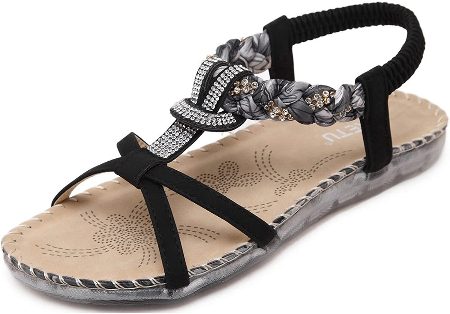 COSDN Women's Bohemia Faux Jewels Flat Casual Sandals