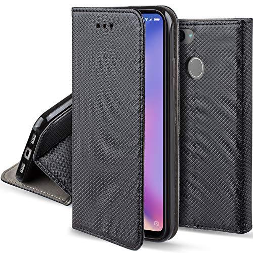 Moozy Funda para Xiaomi Mi 8 Lite, Negra - Flip Cover Smart Magnética con Soporte y Cartera para Tarjetas