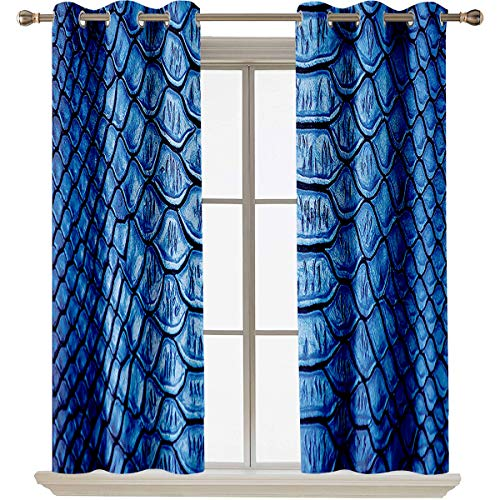 Animal Print Collection best home fashion thermal insulated blackout curtains Colored Snake Skin Pattern Alligator Fancy Luxury Leather Clothing Artwork Suitable forFade Resistant Polyester Microfibe