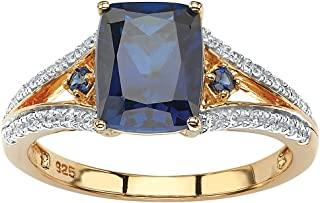 18K Yellow Gold over Sterling Silver Emerald Cut Created Blue Sapphire and Cubic Zirconia Engagement Ring