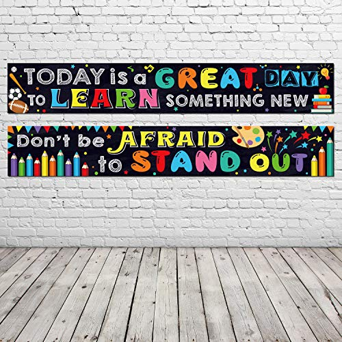 2 Pack Inspirational Classroom Banner for Teacher Positive Banner Motivational Classroom Banner Poster for Teacher Students Classroom Decorations