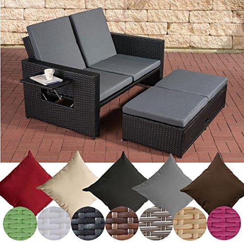 CLP Polyrattan 2er Loungesofa Ancona I Flachrattan Garten-Sofa mit ausziehbarem Fußteil und Verstellbarer Rückenlehne Rattan Farbe schwarz, Stärke 1,25 mm, Bezugfarbe: Eisengrau