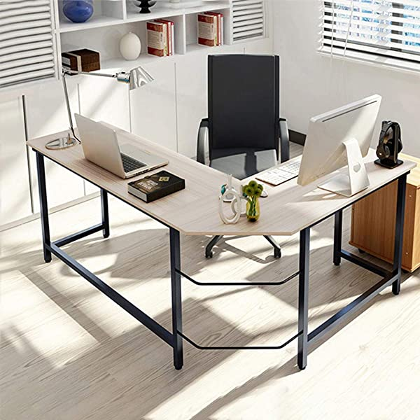 L Shaped Corner Desk Modern Computer Desk For Home Office Computer PC Table Steel Wood Study Office Desk Workstation Studio Desk For Gaming And Studying White