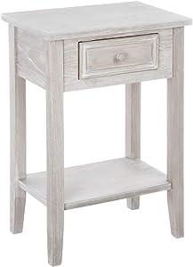 Meuble de chevet - Table de nuit 1 tiroir - Esprit charme d'antan - Coloris Bois Patiné blanc