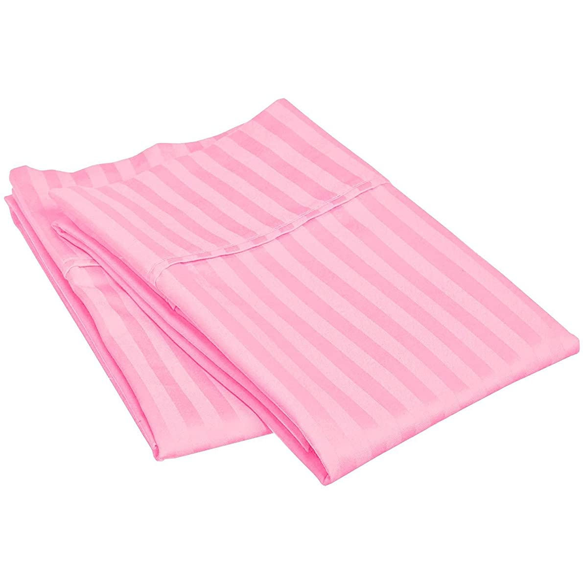Waletone 400 Thread Count 100% Cotton Pillow Cases Set of 2 Pink Stripe Standard Size