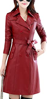 Womens Fashion Lapel Double Breasted Lambskin Leather Mid Long Jacket Coat
