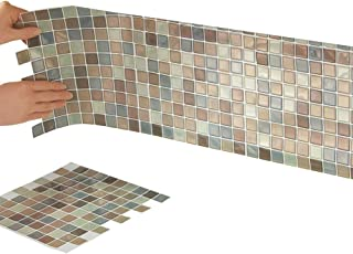 Collections Etc Multi-Colored Adhesive Mosaic Backsplash Tiles for Kitchen and Bathroom..