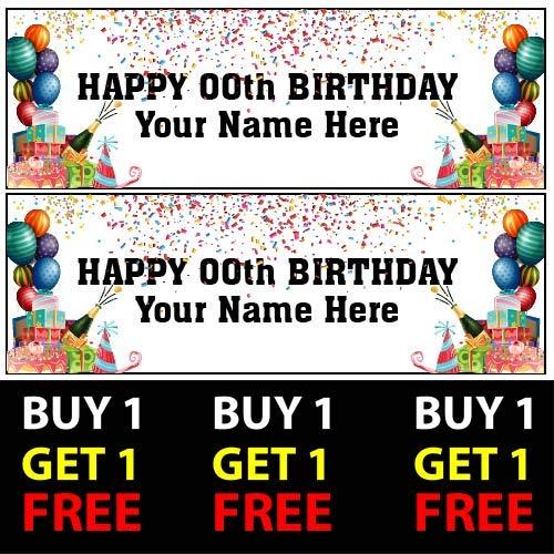 ELITEPRINT Buy 1 Get 1 Gratis 2 Pancartas de cumpleaños personalizadas negras – 16 18, 21, 30, 40, 50, 100 g/m², niños, adultos, niños, niñas, fiesta de cumpleaños