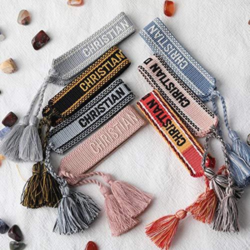 AQUALITYS Pulsera de la Amistad para Mujeres y Hombres, Pulseras de borlas de Cuerda Hechas a Mano, Pulsera de diseño de Tela Ajustable, joyería