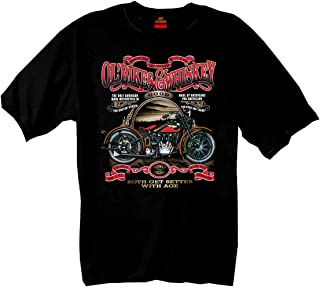 Hot Leathers Ol' Bikes & Whiskey 100% Cotton Double Sided Printed Biker T-Shirt