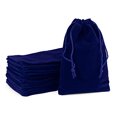 """Velvet Drawstring Pouches, EUSOAR 20 pcs 4 x 6"""" Tarot Cards Bags with Drawstring, Reusable Bags, Craft DIY Craft Business Shopping Store Pouches, Party Gift Present Pearl Bags-Royal Blue"""
