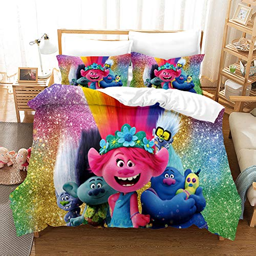 GDGM Trolls World Tour Juego de ropa de cama para niños, funda nórdica y funda de almohada, de algodón/Renforcé, ropa de cama para niña (155 x 220 cm)