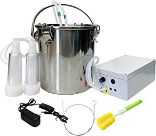 Milking Equipment 5L Electric Milking Machine Milker for Cattle Sheep Integrated Pump Stainless Steel Bucket Farm Breeding...