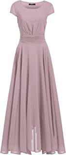 Women's Casual Cap Sleeve Ruched Chiffon Bridesmaid Maxi Dress