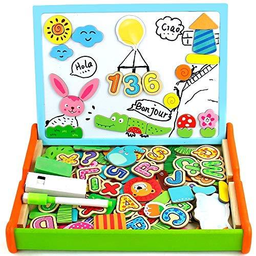 Juguetes Montessori Puzzles Infantiles Madera con Alfabeto Magnetico,Pizarra Magnetica Doble Cara Juegos Educativos Regalos de Navidad para Niños 3 4 5 años-2 Estilos Enviados Al Azar