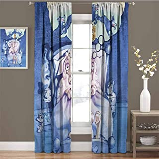 GUUVOR Surrealistic for Bedroom Blackout Curtains Sheep Counting Wolfs Blackout Curtains for The Living Room W72 x L72 Inch