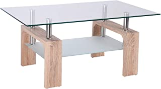 TANGKULA Glass Coffee Table Modern Simple Style Rectangular Wood Legs End Side Table Living Room Home Furniture with Shelf (Bright Wooden)
