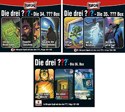 Die Drei ??? (Fragezeichen) - Folgen 101-109 (3 CD Box 34+35+36) im Set - Deutsche Originalware [9 CDs]