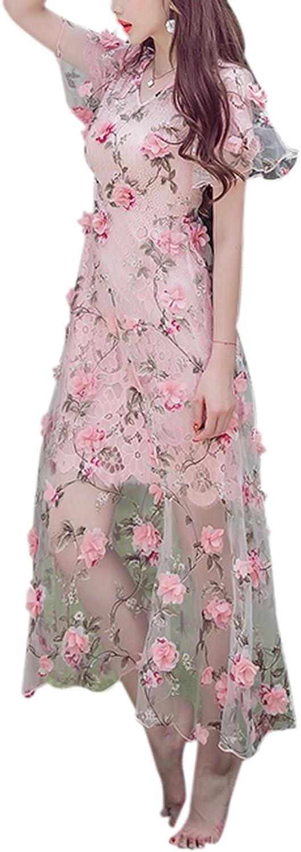 BCVHGD New Summer Handmade Embroidery Flower Perspective 3D Woman Dress Pink Female