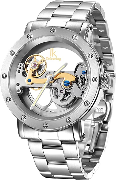 Orologio automatico uomo donna scheletro meccanismo a ponte fondo in vetro alienwork ik 98393G-MS-M