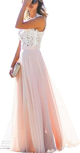 Damen Kleid Festliche A Line Swing Kleider Brautjungfer Hochzeit Cocktailkleid Chiffon Faltenrock Elegant Langes Abendkleid Amazon De Bekleidung