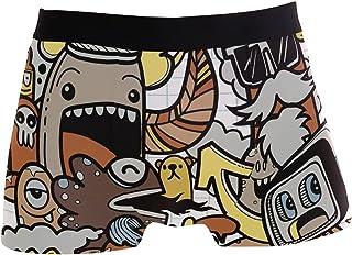 hengpai Cute Cartoon Robot Monster Prints Men's Boxer Briefs Soft Underwear Covered Waistband Short Leg