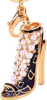 Jzone Women Pearl Bling Key Ring Crystal High Heels Shoes Keychain Pendant Keyfob (Black)