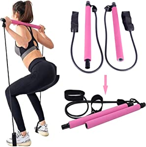 Pilates Exercise Stick with Resistance Band Portable Home Workout Equipment for Women, Pilates Bar Kit Yoga Resistance Bands for Legs and Butt for Stretching, Sculpt, Fitness Exercise Full Body