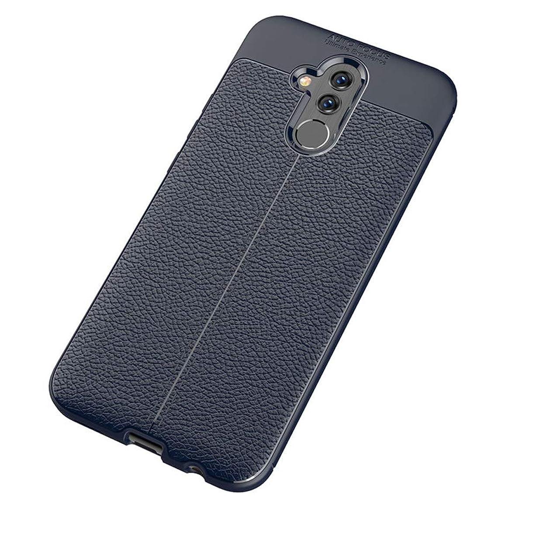 部分的適合しました懐疑論Huawei M20lite 超薄型 超耐磨 軽量 TPU シリコン スマートフォンケース ライチ柄 TPUソフトシェル(ダークブルー)
