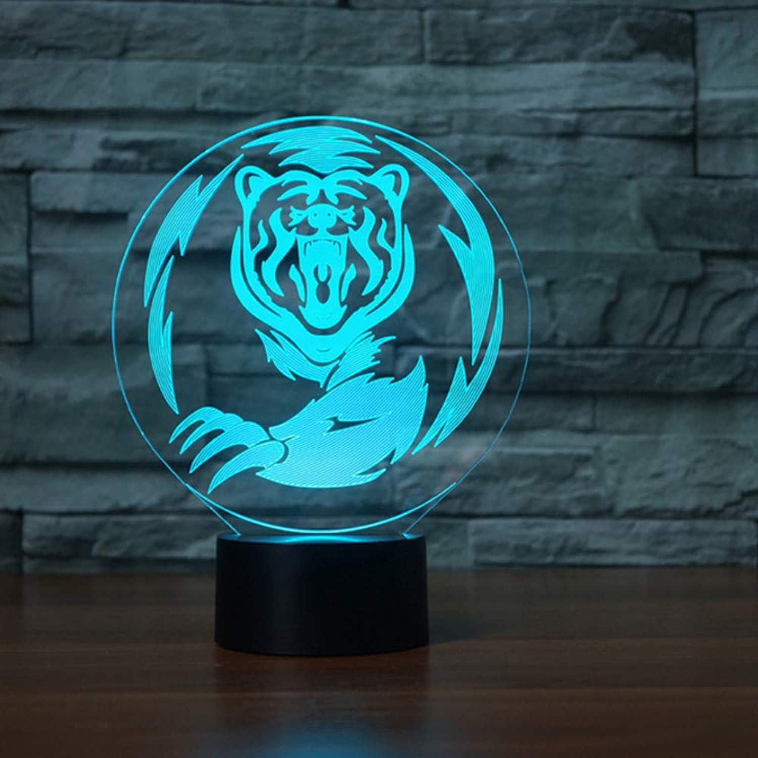 Zonxn colors Changing Touch Button 3D Visual Tiger Table Lamp Acrylic Nightlight Led Bear USB Baby Sleep Light Fixture Kids Gifts