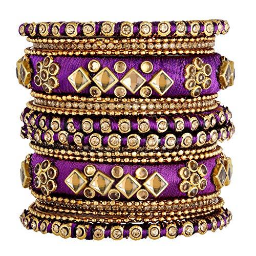Aheli - Juego de pulseras de hilo de seda para bodas, diseño étnico indio Chuda para mujer, color morado