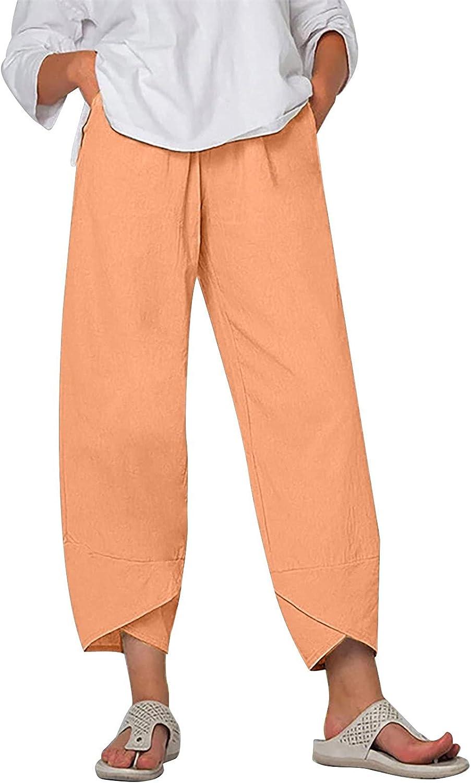 Rovga Women Casual Pants with Pockets Cotton Linen Wide Leg Baggy Trousers Elastic Waist Cropped Pants Plus Size