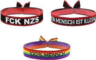3er Pack FCK NZS Kein Mensch ist illegal 100% Mensch Armband Festival Bändchen