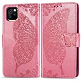 Flip Floral Wallet Case Compatible with iPhone 11 PRO MAX 6.5 inch Case,for Women,Butterfly Embossed Folio Flip PU Leather Magnetic Wallet Shockproof Full Body Protective Purse w/Money Pocket-Pink