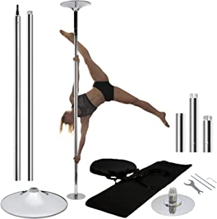 PoleFitnessDancing PFD Chrome Pro Quality Dance Pole Removable, Portable, Spinning 45mm Stripper Pole Kit for Home Or Studio Use - Great for Dancing, Fitness, Exercise, Workout, Party Poles